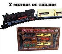 Ferrorama Super Locomotiva Com Farol Luz Trem 7 Metros de Trilhos 8003 - Braskit