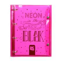 Fichário Universitário 4 Fecho Rosa Neon Color Bubble Dac -