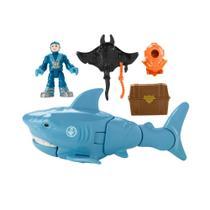 Figura e Tubarão - 19Cm - Imaginext - Tubarão e Mergulhador - Fisher-Price - Fisher Price