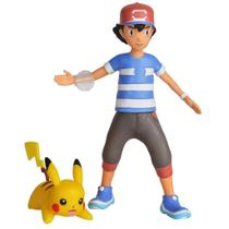 Figura Pokémon - Battle Feature Figure - Articulado - Ash e Pikachu - Dtc
