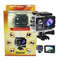 Filmadora 4K HD 1080p Câmera Digital 12MP Esporte Capacete Mergulho Moto Amvox ADC 840 Preta - Compatível somente com SD Classe 10 Extreme -