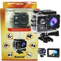 Filmadora 4K HD 1080p Câmera Digital 12MP Esporte Capacete Mergulho Moto Amvox ADC 840 Preta -