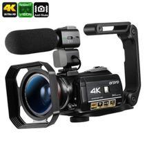 Filmadora Digital Ordro HDR-AC3 4K Wi-Fi V. Noturna 30x Zoom 24MP Com Microfone Lente 2 em 1 Macro Grande Angular Capuz Estabilizador (BTO) -