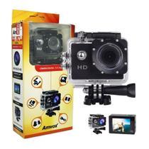 Filmadora HD 1080p Câmera Digital 5MP Esporte Capacete Mergulho Moto Amvox ADC 800 Preta Acessórios - Compatível somente com SD Classe 10 -