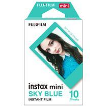 Filme instantâneo Instax Mini Fujifilm Cartucho de 10 Fotos Coloridas Com Bordas Azul Sky Blue -