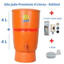 Filtro de Barro para Água São João Premium 4 Litros + 1 Vela Tripla Ação + 1 Boia - Stéfani - Cerâmica Stéfani