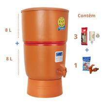 Filtro de Barro para Água São João Premium 8 Litros 3 Velas - Stéfani - Cerâmica Stéfani