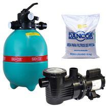 Filtro para Piscina DFR 11-4 com Bomba 1/4 CV Monofásica + Areia para Filtro DANCOR -