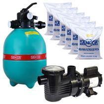 Filtro para Piscina DFR 19-7 com Bomba 3/4 CV Monofásica + Areia para Filtro DANCOR -