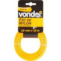 Fio de nylon 1,8mmx15m redondo para roçadeiras e aparadores - Vonder -