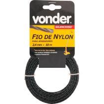 Fio de nylon 2,4mmx10m silencioso para roçadeiras e aparadores - Vonder -