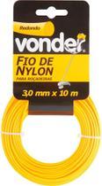 Fio de nylon 3,0mmx10m redondo para roçadeiras e aparadores - Vonder -