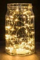 Fio Fada Cobre Prata Cordão Luz Amarela  3m 30 Leds Pilha - Icb Bazar