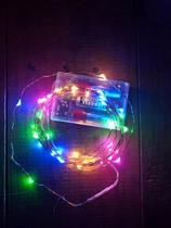Fio Fada Prata Cobre Colorido Luz Cores Natal 5m 50 Leds Pilha Festa Decoração - Coisaria