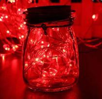 Fio Fada Prata Cobre Cordão Luz Vermelho 3m 30 Leds Pilha - Importação