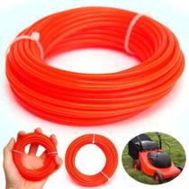Fio para maquina de cortar grama rocadeira aparadores linha fio de nylon quadrado 15 metros laranja - Gimp