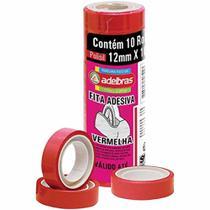 Fita adesiva 12x10 vermelha / 10rl / adelbras -
