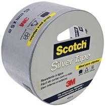 Fita adesiva 45mmx5m silver tape prata scotch 3m -
