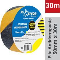 Fita Adesiva Antiderrapante Zebrada Amarela e Preta 50mm x 30m - PLASTCOR