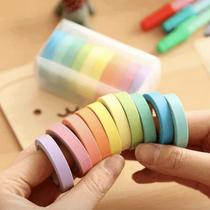 Fita Adesiva Decorativa Washi Tape Cor Pastel Estreita 12 unidades - Keropaper