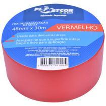 Fita Adesiva Demarcação de Solo Vermelha 30m - Plastcor