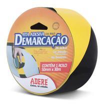 Fita Adesiva Demarcação Preta e Amarela 50mm x 30m - Adere -
