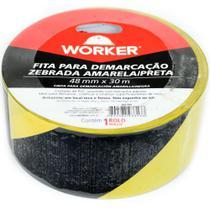 Fita adesiva para demarcação de solo zebrada 48 Mm X 30 Metros worker -