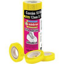 Fita adesiva polisil 12mmx10m.amarelo pct.c/10 - Adelbras