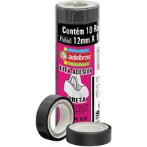 Fita adesiva polisil 12mmx10m.preta pct.c/10 - Adelbras