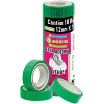 Fita adesiva polisil 12mmx10m.verde pct.c/10 - Adelbras