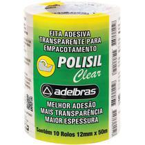 Fita adesiva polisil 12mmx50m.transparente pct.c/10 - Adelbras