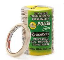 Fita Adesiva Polisil Clear 510 12x40 Transparente (10 unidades) - Adelbras -