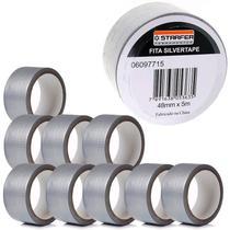 Fita Adesiva Silver Tape 48 MM x 5 Metros Cinza Kit com 10 Peças STARFER -