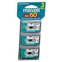Fita áudio micro K-7 60 minutos - com 3 peças - MC-60 - Maxell -
