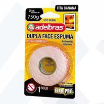 Fita Banana Dupla Face C/ Espuma 12mm X 2m Adelbras Fixa Pro -