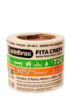 FITA CREPE 720 PALHA 48mm X 50m Com 2 Rolos - Adelbras