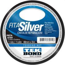Fita De Alta Resistencia Silver Preta 48mmx5m Tekbond Unidad -