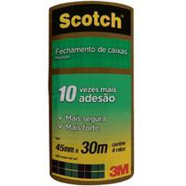 Fita de Empacotamento Scotch Hot Melt  Marrom 45mmx30m Ref. 4801 Pct/ 4 rolos - 3M