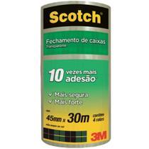 Fita de Empacotamento Scotch Hot Melt  Transparente 45mmx30m Ref. 4801 Pct/ 4 rolos - 3M