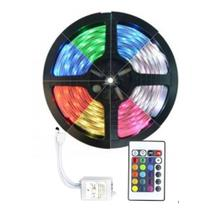 Fita De Led 5050 Rgb Colorida Com Controle Ip65 Externa -