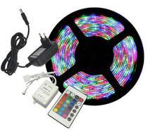 Fita de led colorida iluminação rgb com controle remoto 5 metros - Master