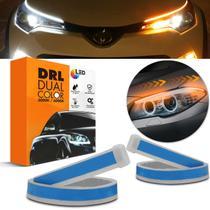 Fita de LED DRL Dual Color Universal 3000k 6000k 12V 60cm Farol com Função Seta Sequencial - Prime