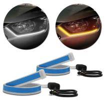 Fita de LED DRL Nissan Kicks Dual Color Universal 3000K 6000K 12V 6,8W Farol e Seta Luz Diurna Daylight 60cm - Shocklight
