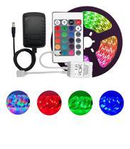 Fita De Led Rgb 3528 Com Fonte + Controle Função Colorida 5m - Lig Light