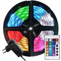 Fita de Led RGB 5050 com Controle Remoto 5 Metros A Prova D'Água Dupla Face 300 LEDs com Fonte 12V - King