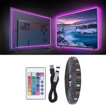 Fita de Led RGB 5050 USB 3 metros para TV PC 5v Fundo Preto IP65 - Fita Led