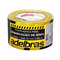 Fita Demarcacao Area 70mmx200m Preto Amarelo Adelbras -