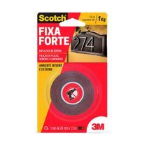Fita Dupla Face 24mmx1,5m Fixa Forte cinza 3M Scotch -