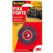 Fita Dupla Face 3M Fixa Forte Uso Externo 24 mmx1,5 m - 3M Scotch