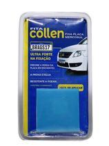 Fita dupla face Collen:  Fixa e Reforça Nova Placa Mercosul  5x5cm Extrema Adesão - Fita Collen
